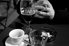 Appetizer (IvanDurso) Tags: street leica white black water beer glass coffee bike table photography iso3200 cafe hands break smoke ivan sugar fixed appetizer 24mm ashtray cigarettes pai turin dab x1 aperitif 36mm brauerei dortmunder bikery durso actien