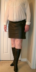 One Last Warm Fall Day (Cowgirl Boot Fan) Tags: highheels miniskirt kneehighboots leatherskirt colinstuart