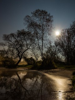 full moon night at the river