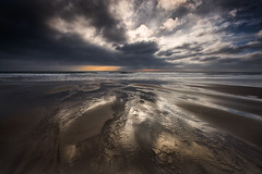 Liquid Silver and Gold (explored) (yadrad) Tags: sunset southwest beach clouds silver reflections gold sand cornwall tide whitsandbay whitsands southcornwall