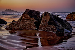 Split rocks at sunset (stephencurtin) Tags: sunset color reflection beach water oregon rocks photograph bandon split