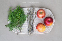 (lvaivl) Tags: christmas wood xmas stilllife food green apple fruits canon daylight cozy vegan knitting raw natural folk decoration objects vegetarian fir apples organic homedecor authentic viewfromabove onthetable setthetable firtreebranches livefolk