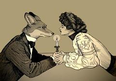Foxy Romance Digital (jodiorodeo) Tags: love lady foxy beige holding hands kiss candle victorian romance fox date hybrid hue gentleman candlelit jodiorodeo