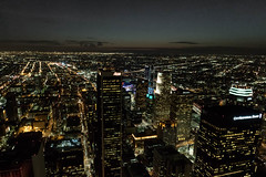 Downtown Los Angeles - Taking in the City Lights  from the Tallest Helipad (SteveWillard) Tags: california sky cloud building nature skyline architecture clouds floors skyscraper canon buildings prime la losangeles downtown doors cityscape structures wideangle h socal 7d highrise rays downtownla southerncalifornia dtla cloudporn bunkerhill heliport lightroom goldenstate downtownlosangeles librarytower steelframe losangelescounty usbankbuilding adobelightroom fourwalls 90071 canonef15mmfisheye eos7d loadbearingwalls stevewillard canon7dmarkii lightroom57 9128b002 65thtallest