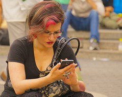 New Yorkers spend a lot of time frowning at their smartphones (Ed Yourdon) Tags: newyork cellphone redhair streetsofnewyork streetsofny everyblock