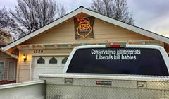 BASKING IN THE SPIRIT OF THE SEASON (akahawkeyefan) Tags: truck political moron santaclaus conservative redneck kingsburg davemeyer