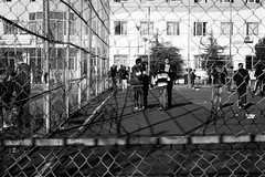 (Wasally) Tags: travel playground digital children blackwhite albania enfant grillage cour noirblanc tirana chldren dcole albanie jeuxdenfants