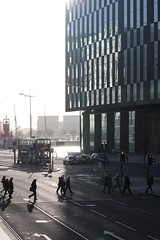 pedestrian crossing (Towner Images) Tags: city winter shadow copyright sun bus silhouette strand liverpool pedestrian flare merseyside towner canningdock townerimages