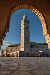Hassan II Mosque at golden hour, Casablanca, Morocco (Abhi_arch2001) Tags: monument architecture golden arch framed grand mosque morocco ii hour casablanca hassan archway moroccan mega monumental