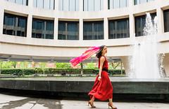 Sassy (Geoff Livingston) Tags: red woman girl lady scarf highheels dress walk catwalk