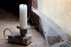 Fading light (Sir snap) Tags: light window dark raw candle dirty cobweb matches therapee