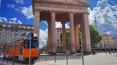 Porta Ticinese , Milan (William Sicorello) Tags: trip sky italy milan sunshine clouds temple colorful day shot tram splendid navigli portaticinese