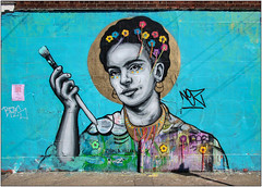 Street Art: Hackney Wick (Mabacam) Tags: streetart london wool thread wall painting graffiti stencil mural paint embroidery wallart urbanart fridakahlo stitching freehand publicart aerosolart spraycanart stencilling hackneywick 2016 urbanwall zabou villana yarnbombing