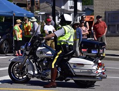 RCMP officer  mounted on  his Harley Davidson (D70) Tags: canada day bc hats off harley mounted his burnaby rcmp davidson officer 2016