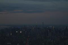 Manhattan Skyline At Sunset (tannerstakesphotos) Tags: pink blue sunset usa newyork skyline river lights skyscrapers dusk manhattan broadway empirestatebuilding hudson chryslerbuilding 432parkavenue