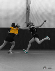52-20 Happy - go get 'em (Trip choc) Tags: bw sport yellow speed nikon action nik fitness netball