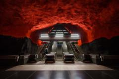 Solna Centrum Subway station (Helena Normark) Tags: underground subway sweden stockholm sverige escalators subwaystation a7 voigtlnder solna heliar15mm solnacentrum solnatbanestation sonyalpha7 voigtlndersuperwideheliar15mmf45asphericaliii
