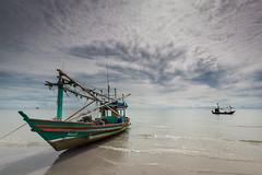 Fairytale (torbus) Tags: ocean old morning sea sky colors sunrise landscape thailand sand asia lowtide fishingboat huahin sescape canon5dmkiii khaotakiabbeach canon1635f4is