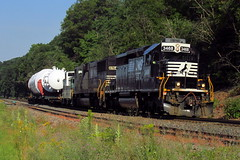 NS Air Products shipment (Hank Rogers) Tags: pa pennsylvania yatesville yatesvillehill airproducts norfolksouthern oil petroleum industry industrial economy train railroad rr 3468 6764 ns3468 ns6764 summer green hot fractioningtower sunburyline freight rail