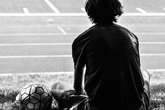 Wishing he was playing (PJMixer) Tags: family people bw silhouette ball nikon soccer 52weekproject