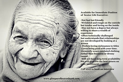 Available for Position... (GlimpseofHeavengirl) Tags: life friends love blessings happiness elderly learning wisdom choices personalgrowth glimpseofheaven