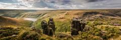 The Trinnacle - on Saddleworth Moor (Dave Fieldhouse Photography) Tags: trinnacle peakdistrict nationalpark gritstone moors moorland saddleworthmoor derbyshire lateafternoon lightandshade lightrays reservoir lake clouds vivid path outcrop landscape outdoors hill grass rocks greenfield res greenfieldreservoir summer panorama stitchedpanorama saddleworth canon5dmarkiii