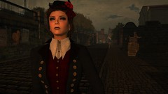 ruls (alexandriabrangwin) Tags: alexandriabrangwin secondlife 3d cgi computer graphics virtual world old time age steampunk city street gothic victorian era lady madame posing stoic ominous air eerie amber glow button jacket flower hair updo cobblestones buildings grimy dirty aristocrat rich hungarian