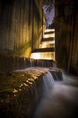The stairway to Portland (Mstraite) Tags: water fountain city downtown night dark slow long longexposure portland light waterfall