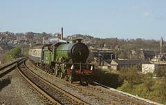 'Morayshire' passing Charlestown Junction, Dunfermline, Fife 1981 (SC-Fifer) Tags: fife steamlocomotive morayshire huntclass no246 lnerclassd49 srpsrailtour dunfermlinelower dunfermlinestation charlestownjunction steaminfife