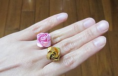 Rose ring, design: Hyo Ahn (Origami Sophy) Tags: rose dave paper origami ring brill folding