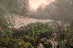 Misty Sunset at Colinton Dell, Edinburgh (MilesGrayPhotography (AnimalsBeforeHumans)) Tags: uk longexposure winter sunset urban panorama nature water rural canon river landscape photography eos scotland waterfall haze edinburgh glow stitch britain pano scenic sigma panoramic nd leith waterscape ptgui auldreekie hsm sigma1770mm nd1000 canoneos70d canon70d