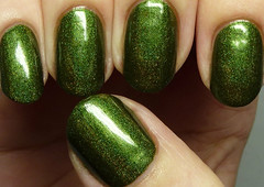 The Devil Wears Polish Zombies Need Holo 2 (http://www.thepolishedhippy.com) Tags: green swatch nail polish indie devil wears shimmer linear holographic varnish swatches lacquer the holo storenvy