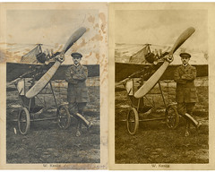 The original picture (left) and the 'cleaned' picture at left of the Willy Kanitz picture (Kees Kort Collection) Tags: germany before grade after kanitz monoplane eindecker