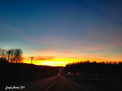 Sunrise Traffic (shoot that!) Tags: pink november blue autumn trees sky color colour fall cars apple nature beautiful beauty lines yellow clouds sunrise dawn lights golden amber photo highway neon glow traffic image kentucky pass silhouettes indiana headlights truckstop louisville windshield streaks exposed taillights iphone galena 2014 joenewton