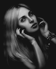 M (Artem Vasilenko) Tags: portrait blackandwhite sexy girl monochrome beauty dark eyes highlights lips jewellery blond return carlzeiss aplaceforportraits makroplanart2100