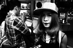 Tokyo 2014 (Dance with the Strangers) Tags: people monochrome japanese blackwhite eyecontact photographer 28mm streetphotography documentary harajuku streetfashion 2014 candidportrait tokyocity urbanasia grdiv ricohgrd4