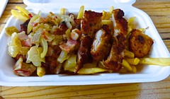 schnitzel and fries from Little Red Riding Truck in San Francisco (Fuzzy Traveler) Tags: sanfrancisco food bacon frenchfries pork german onion schnitzel foodtruck somastreatfoodpark littleredridingtruck