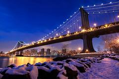 WINTER TIME (Rober1000x) Tags: longexposure bridge winter usa snow ny newyork cold skyline architecture river lights arquitectura hudson bluehour eeuu 2013