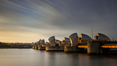 Calm And Moving (hammermad) Tags: city longexposure light colour london thames clouds canon landscape time cloudy tide le riverthames thamesbarrier
