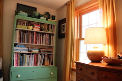 aqua and gold (On Bradstreet) Tags: home farmhouse cozy interiors books livingroom oldhouse diningroom bookcases eclectic transitions cornersofmyhome bradstreetfarm november2014