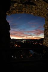 Sonnenuntergang Burgturm Ruine Laufenburg (CH)