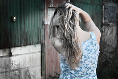 Being in the limelight (Abzizzy) Tags: wood flowers blue winter portrait plants cold green me girl self hair fun model hands dress blonde limelight stables selfie timess abzizzy