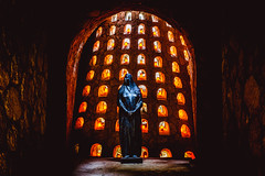 The Statue in the Crypt (Patberg) Tags: statue mexico candles mary cementary crypt