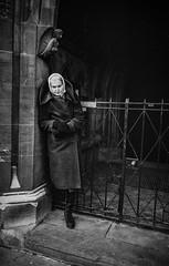 Church, West London, c1978 (Dr John2005) Tags: blackandwhite woman london church 35mm solitude unitedkingdom age inversion 1978 ealing westlondon johnperivolaris