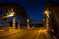 Frankfurt Honsellbruecke (domarffm) Tags: bridge night river germany frankfurt main westhafen
