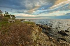 Coastal Sky (massbat (moved to Maine)) Tags: sunset clouds bench coast spring maine newengland atlantic kennebunkport topaz