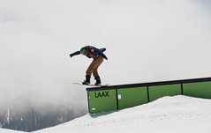 Boardslide (Alain.Keller_Photography) Tags: mountains green switzerland foggy boardslide snowboarder laax springsession pleasurespringsession