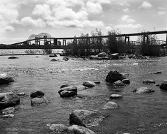 International Bridge & The St. Mary's River (Brian Tremblay, photographer) Tags: blackandwhite ontario canada art landscape ilford largeformat saultstemarie crowngraphic filmphotography