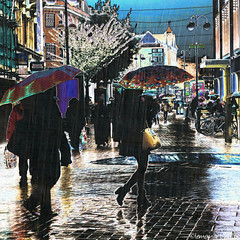 An umbrella day. (Lemon~art) Tags: street texture wet weather shop umbrella crowd manipulation bicycles raining shoppers