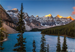 Classic Moraine (AdelheidS photography (at work in Norway now)) Tags: trees mountain lake canada mountains sunrise landscape nationalpark scenery alberta banff rockymountains travelphotography lakemoraine adelheidspictures adelheidsmitt adelheidsphotography